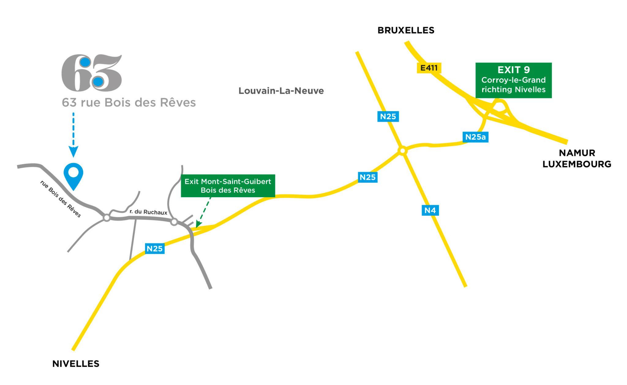 plan d'accès 63 rue Bois des Rêves